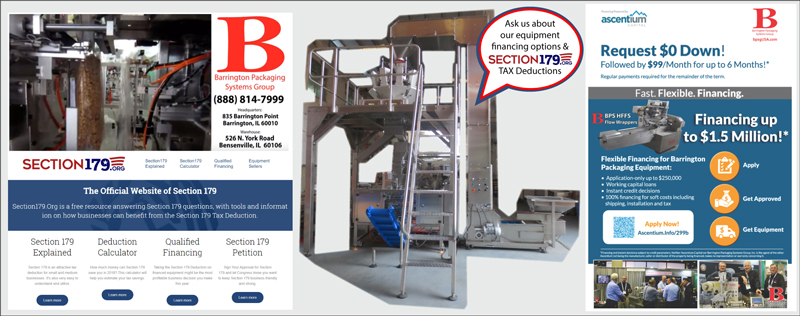 Packaging Equipment Financing and Leasing Options 888-814-7999 Barrington Packaging offers affordable packaging equipment, high-quality packaging systems, new and used solutions for all of your packaging equipment needs